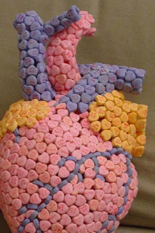 a human heart made out of Necco Conversation Hearts