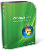 Windows Vista Home Premium box with dark green background