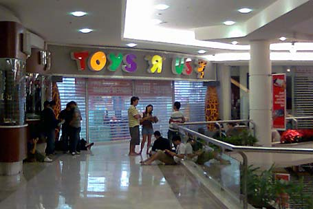 People waiting outside Toys 'R' Us at Westfield Parramatta