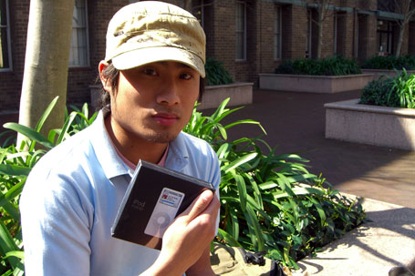 Johnny posing with iPod nano