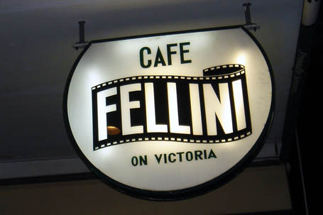 Café Fellini on Victoria's sign