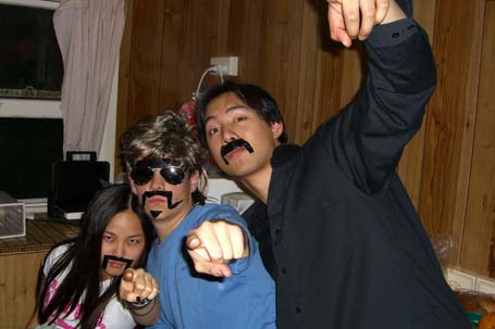 Stef, Bero and Will with duct tape moustaches