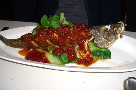 whole crisp-fried barramundi with three-flavoured sauce and bok choy
