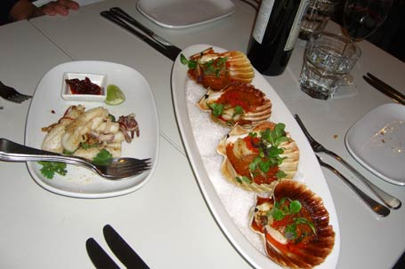 entrées of scallops and salt and pepper squid with chilli, garlic, coriander and lime