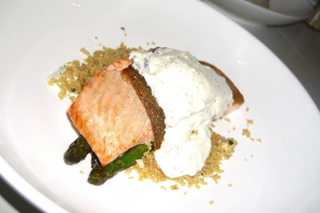 ocean trout with coriander yoghurt on a bed of cous cous