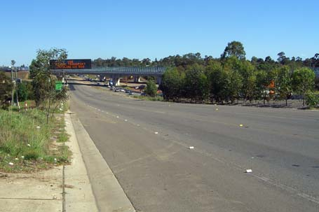 view along Old Windsor Rd with the Westlink M7 in the distance